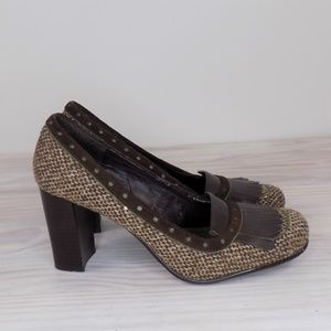 Tommy Girl Brown Tweed Heeled Loafers Size 9 EUC!